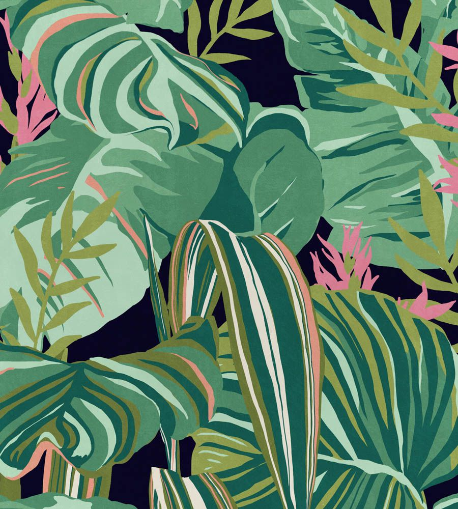 Mind The Gap Tropical Foliage Anthracite tapéta