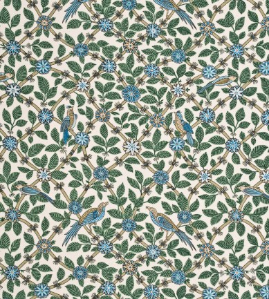 GP and J Baker Bamboo Bird Aqua-Teal textil - Paisley Home