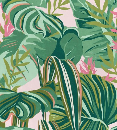 Mind The Gap Tropical Foliage Green, Pink tapéta