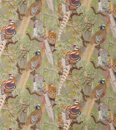 Mulberry Home Game Birds Linen Stone-Multi textil - Paisley Home