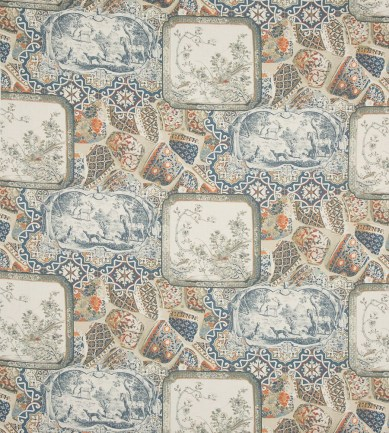 Mulberry Home Mulberry China Linen Terracotta-Indigo textil - Paisley Home