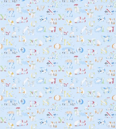 Sanderson Alphabet Zoo Powder Blue/Multi tapéta - Paisley Home