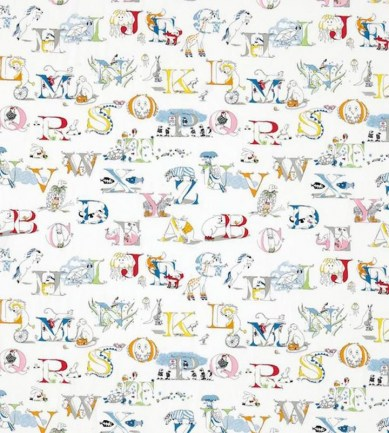 Sanderson Alphabet Zoo Embroidery Rainbow Brights textil - Paisley Home