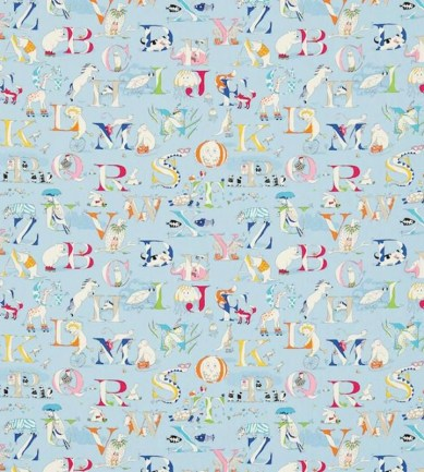 Sanderson Alphabet Zoo Powder Blue textil - Paisley Home