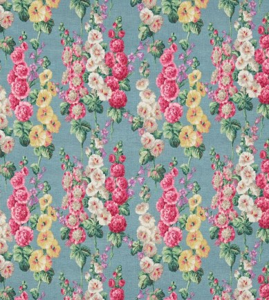 Sanderson Hollyhocks Petrol Blue/Multi textil - Paisley Home