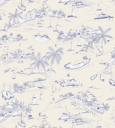 Thibaut Bahamas Blue and Beige tapéta - Paisley Home