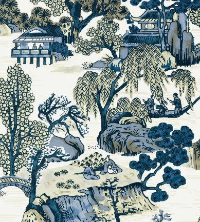 Thibaut Asian Scenic Blue and Beige tapéta