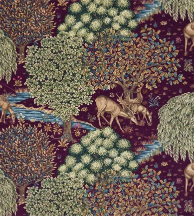 William Morris The Brook Tapestry Red textil - Paisley Home
