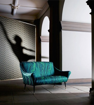 Zoffany Serpentine Blue Malachite textil - Paisley Home