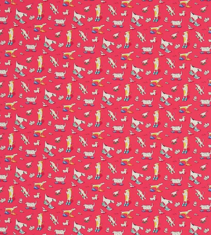 Sanderson Dogs In Clogs Red textil - Paisley Home