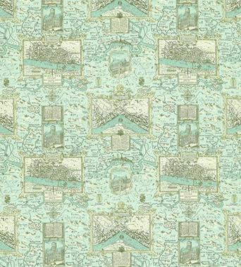 Thibaut London Map Aqua F96009  textil - Paisley Home