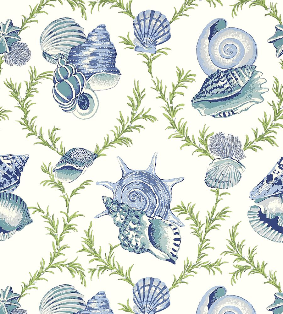 Thibaut Sumba Shell Blue and Green tapéta - Paisley Home