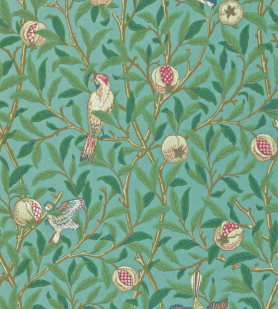 William Morris Bird & Pomegranate Turquoise/Coral tapéta - Paisley Home