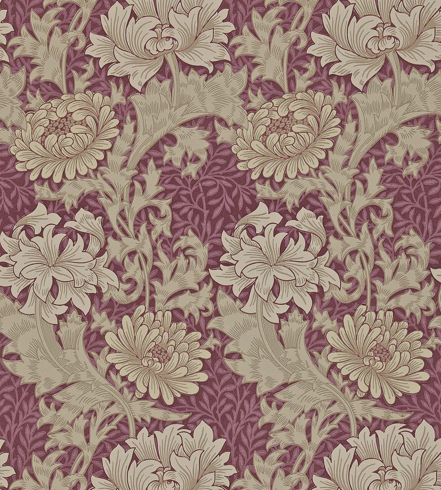 William Morris Chrysanthemum Wine tapéta - Paisley Home