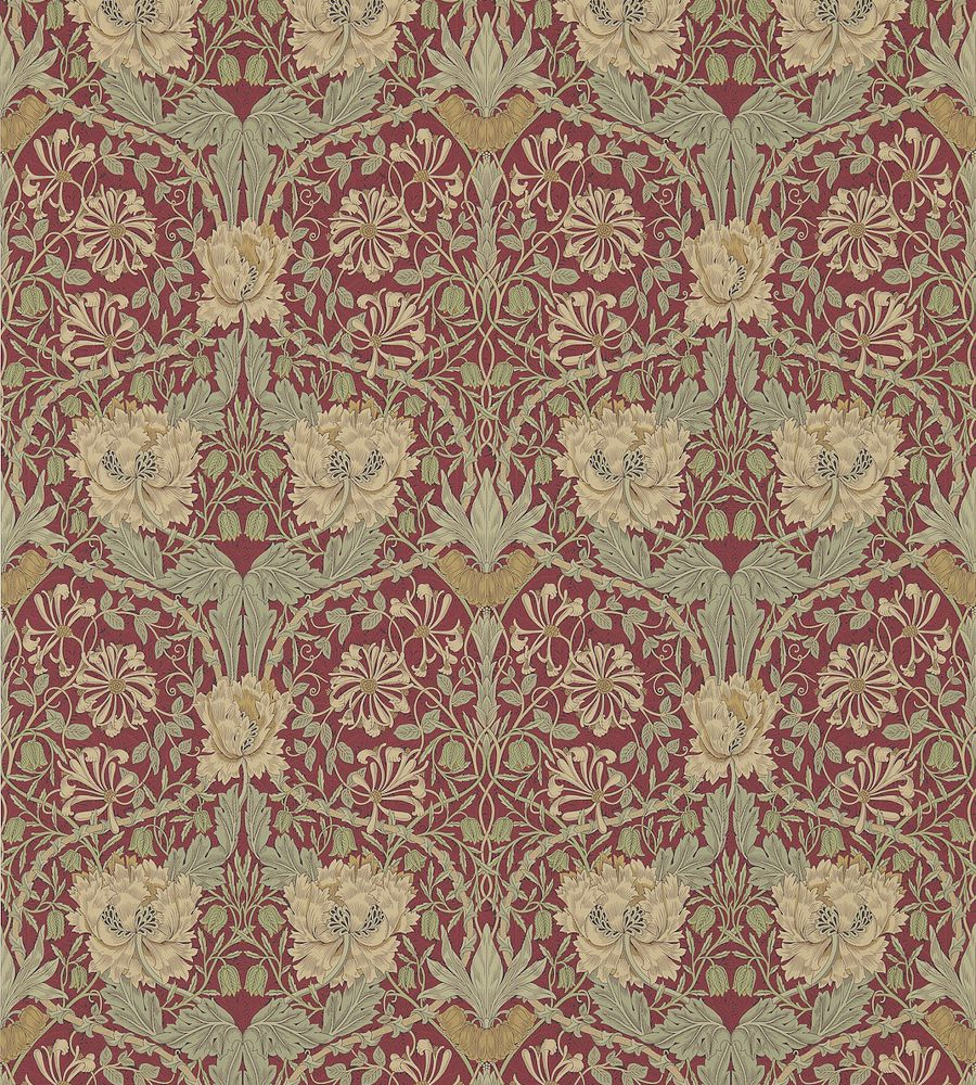 William Morris Honeysuckle & Tulip Red/Gold tapéta - Paisley Home