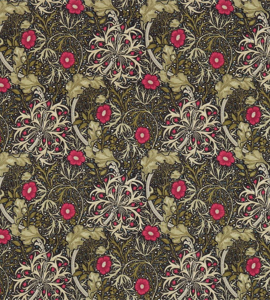 William Morris Morris Seaweed Ebony/Poppy textil - Paisley Home
