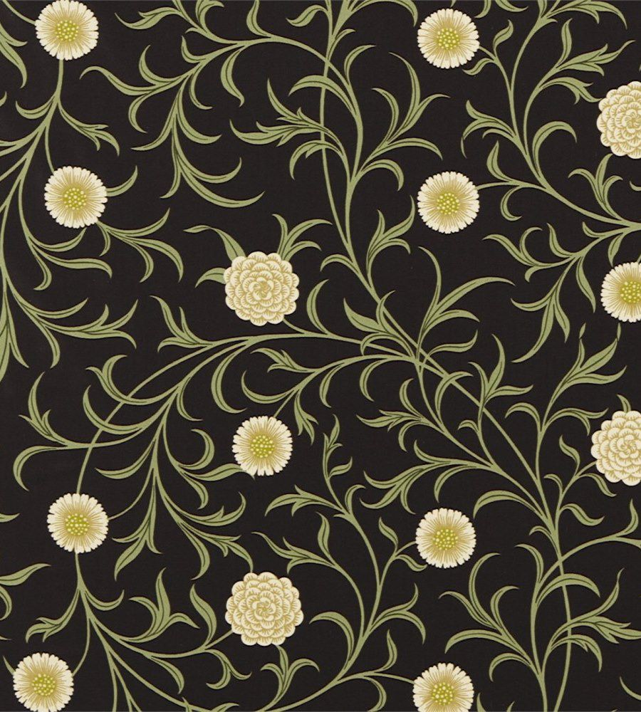 William Morris Scroll Black/Thyme textil - Paisley Home