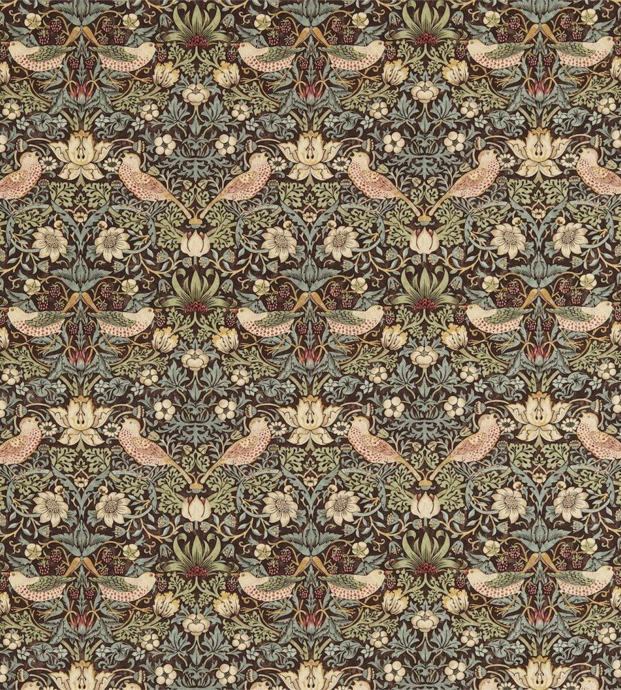 William Morris Strawberry Thief Chocolate/Slate textil - Paisley Home